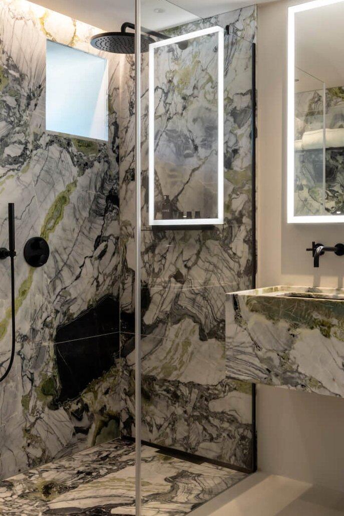Chateau de Vignee Dornbracht bathroom Tara luxury marble black